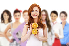 Group of woman with fruit Stock Photos