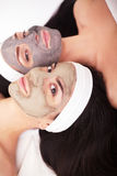 Group woman getting facial mask and gossip Stock Image