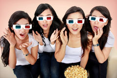 Group of woman watching movie Stock Photography