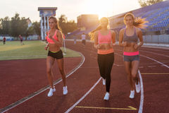 Group of women athletes running together in stadium. Royalty Free Stock Photos