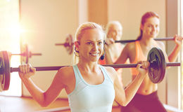 Group of women with barbells exercising in gym Royalty Free Stock Images