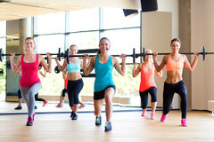 Group of women with barbells in gym. Fitness, sport, training and lifestyle concept - group of women with barbells in gym Stock Photo