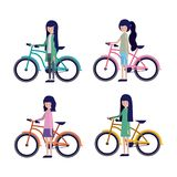 Group of women in bicycle. Vector illustration design Stock Photography
