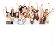Group of women with blank billboard. Group of cheerful young women standing with blank billboard stock photography