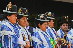 Group of women in Bolivian Independence Day parade in Brazil Royalty Free Stock Images