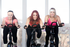 Group of women cycling in fitness center Royalty Free Stock Photos