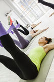 Group Of Women Doing Exercises With Gym Tensile. Beautiful Young Women Exercising At Fitness Center With Gym Tensile Stock Photos