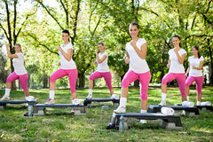 Group of women doing exercises Stock Photos