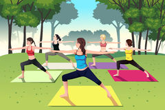 Group of women doing yoga in the park. A vector illustration of group of women doing yoga in the park Stock Photos