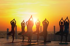 A group of women doing yoga at sunrise near the sea. The group of women doing yoga at sunrise near the sea Stock Photo