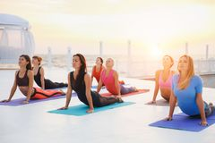 A group of women doing yoga at sunrise near the sea. The group of women doing yoga at sunrise near the sea Royalty Free Stock Images