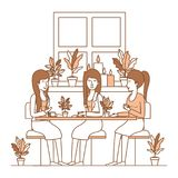 Group of women drink coffee in the garden. Vector illustration design Stock Images