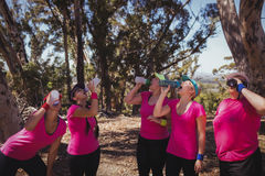 Group of women drinking water in the boot camp. On a sunny day stock photos