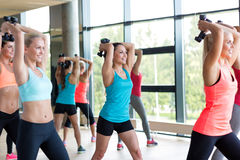 Group of women with dumbbells in gym Royalty Free Stock Images