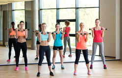 Group of women with dumbbells in gym Royalty Free Stock Photos