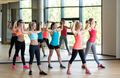 Group of women with dumbbells in gym Royalty Free Stock Photo