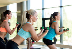 Group of women with dumbbells and steppers Royalty Free Stock Photos
