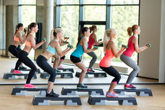 Group of women with dumbbells and steppers Stock Images