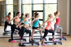 Group of women with dumbbells and steppers Stock Photos