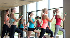 Group of women with dumbbells and steppers Stock Image