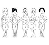 Group women employee team work business. Vector illsutration eps 10 Royalty Free Stock Photography