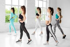 A group of women are engaged in fitness in the gym. The concept of sports, healthy lifestyle, fitness, stretching.  stock photography