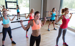 Group of women excercising with bars in gym Royalty Free Stock Image