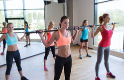 Group of women excercising with bars in gym Royalty Free Stock Images