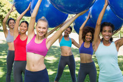 Group of women exercising with fitness balls Royalty Free Stock Photography
