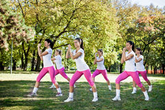 Group of women  exercising. Six young women  doing exercising, outdoor Stock Photography