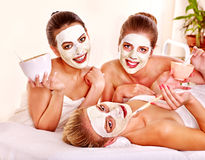 Group women with  facial mask. Royalty Free Stock Photo