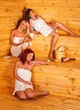 Group women friend relaxing in sauna Royalty Free Stock Photo