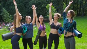 Group of women friends putting their hands together in the park after morning training outdoor. Active lifestyle candid. Fitness teamwork concept stock video footage