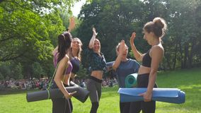 Group of women friends putting their hands together in the park after morning training outdoor. Active lifestyle candid. Fitness teamwork concept stock video