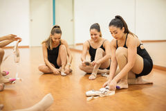 Group of women getting ready to dance Royalty Free Stock Image