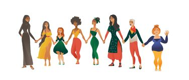 Women or girls of different races and body shapes flat vector illustration isolated. royalty free illustration