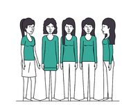 Group of women with green clothes. Vector illustration design Stock Photography