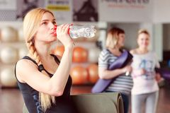 Group of women in gym royalty free stock photo