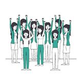 Group of women with hands up and green clothes. Vector illustration design Royalty Free Stock Image