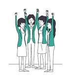 Group of women with hands up and green clothes. Vector illustration design Stock Photo