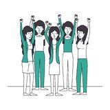 Group of women with hands up and green clothes. Vector illustration design Royalty Free Stock Photo