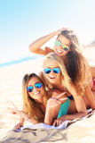 Group of women having fun on the beach Royalty Free Stock Image