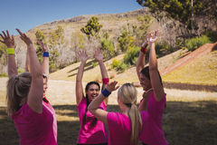 Group of women interacting with each other in the boot camp Royalty Free Stock Photo