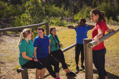 Group of women interacting with each other in the boot camp Royalty Free Stock Photos