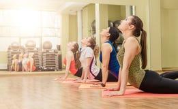 Group of women making step aerobics Stock Photo