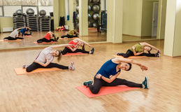 Group of women making step aerobics Royalty Free Stock Photography