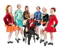 Group of woman and man in clothing for Irish dance isolated royalty free stock images