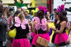 Group of women in pink short skirts being photographed. BATH, SOMERSET, UK - JULY 16 2016 Bath Carnival procession around the streets of the city of Bath stock image