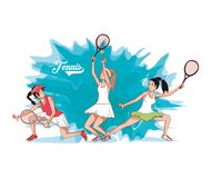 Group of women players tennis. Vector illustration design Royalty Free Stock Photography