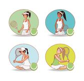 Group of women players tennis. Vector illustration design Stock Images